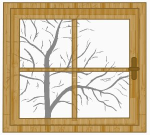 Holzfenster (Illustration)